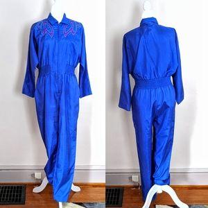 VINTAGE | Joan Walters 80s Disco Blue Jumpsuit L